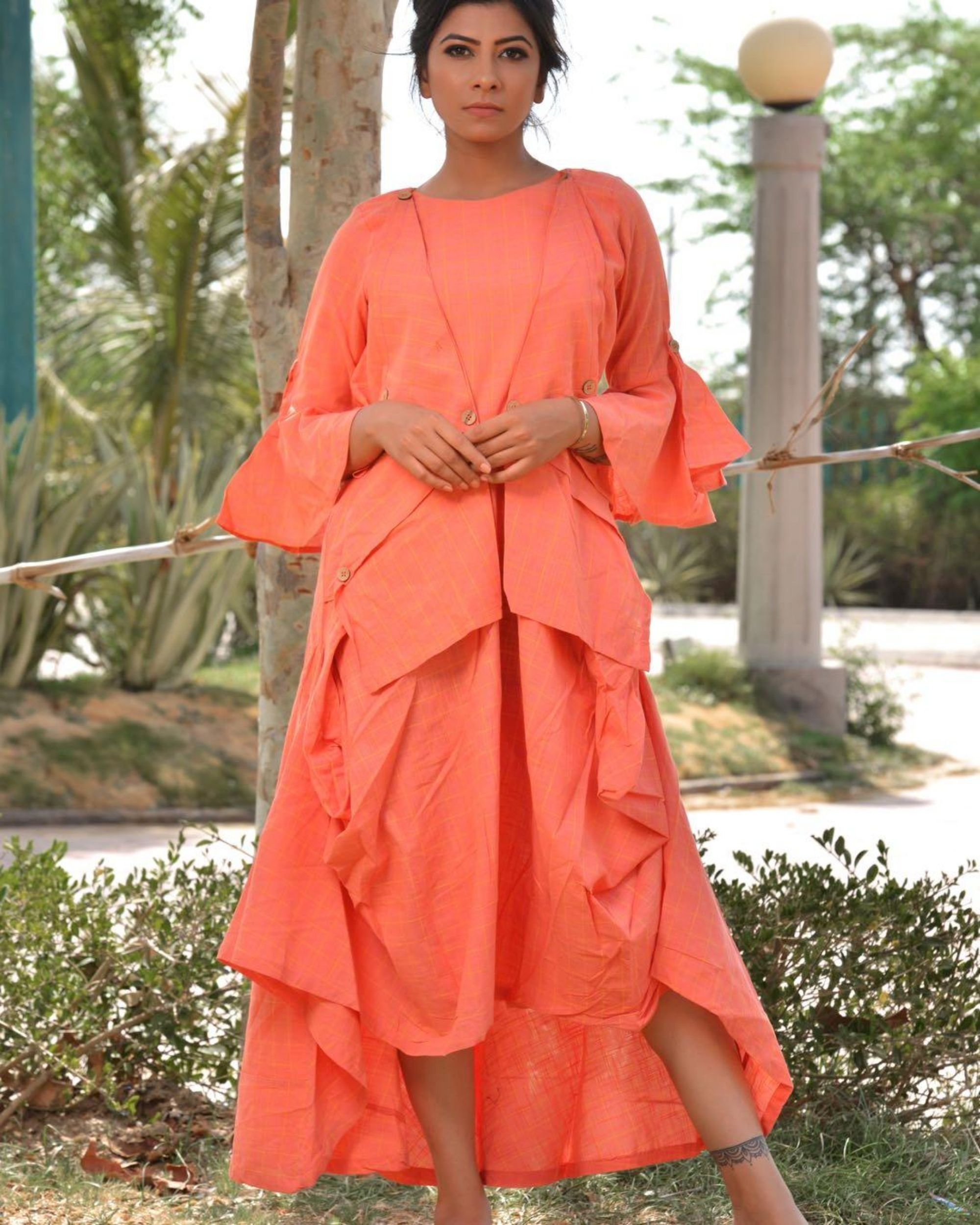 Peach checkered asymmetrical dress