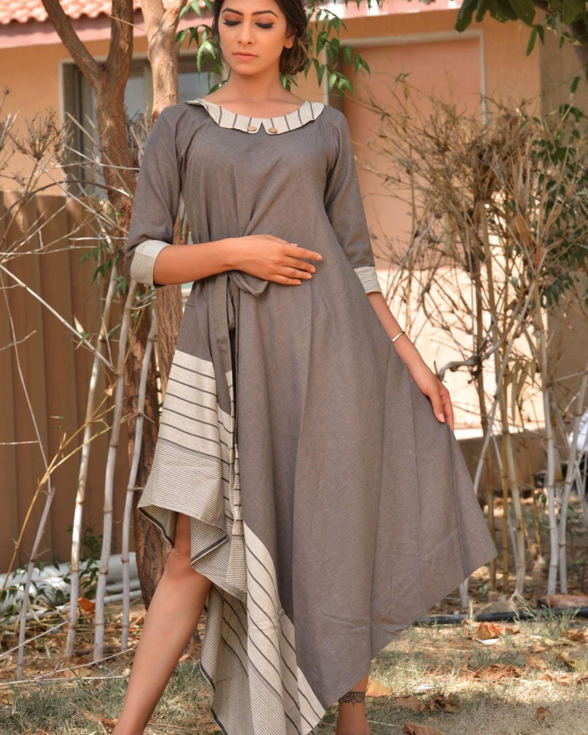 Grey and white side tie-up dress