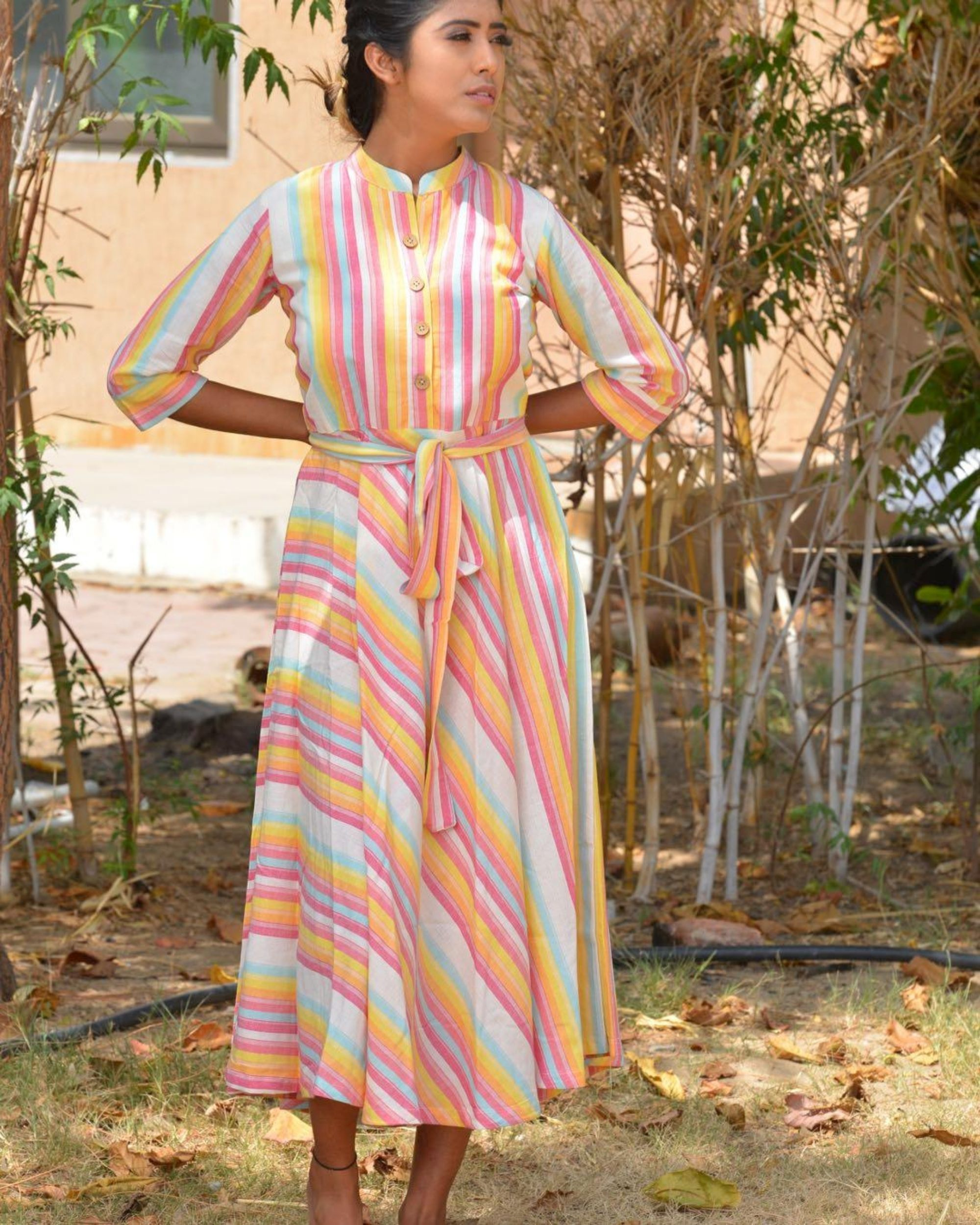 Multicolour striped midi dress