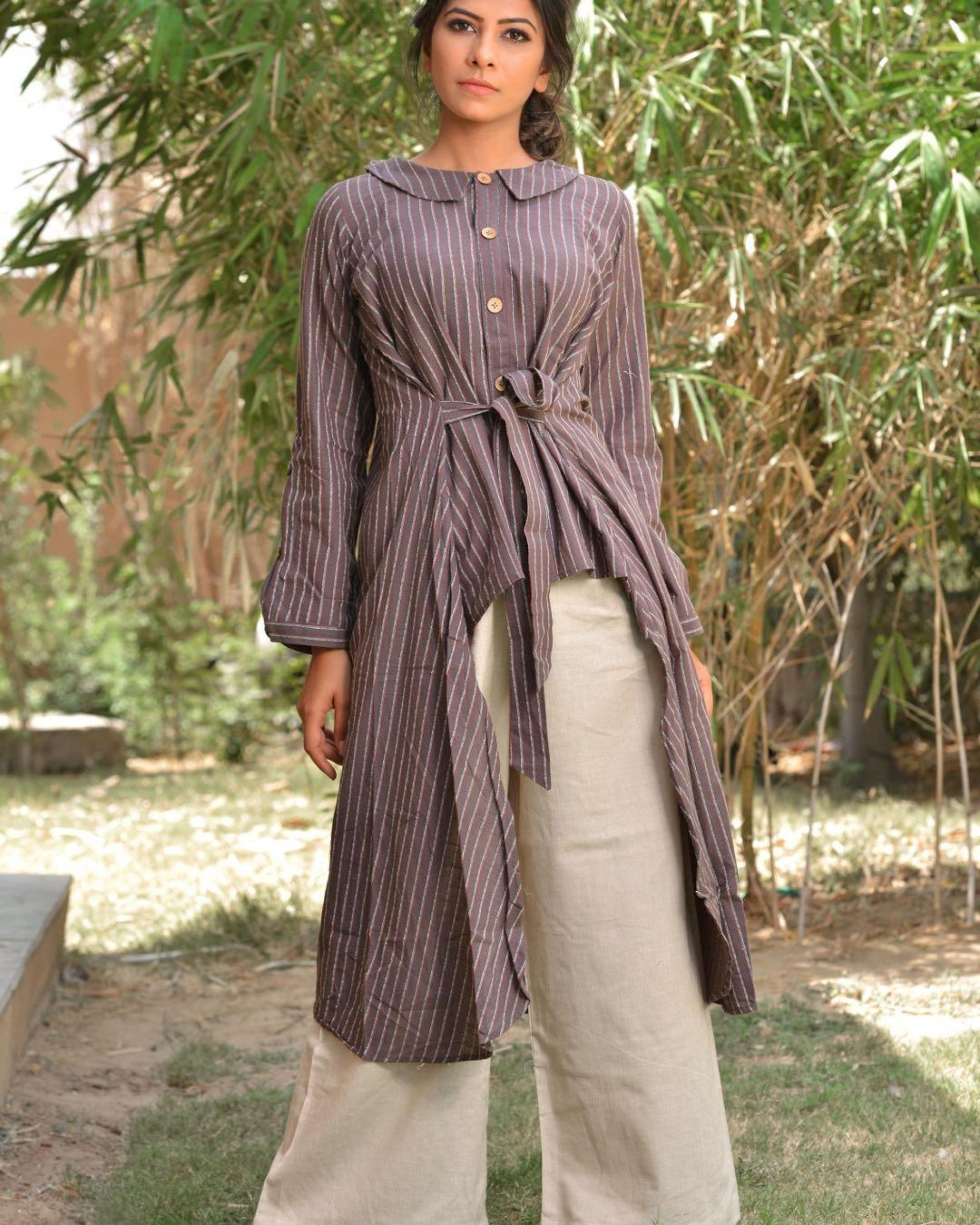 Grey striped high low kurta