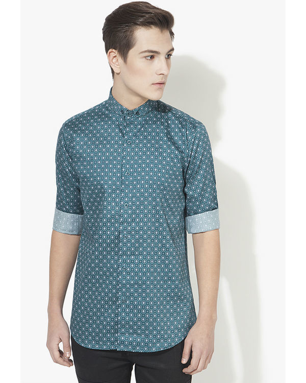 Green diamond printed casual shirt