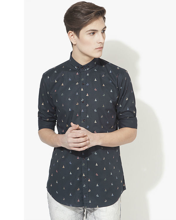 Blue boat printed casual shirt