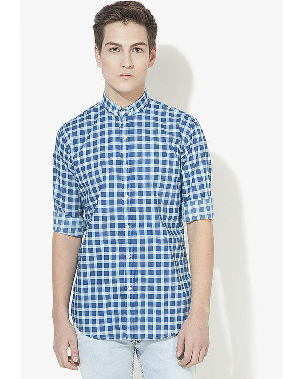 Blue checks casual shirt