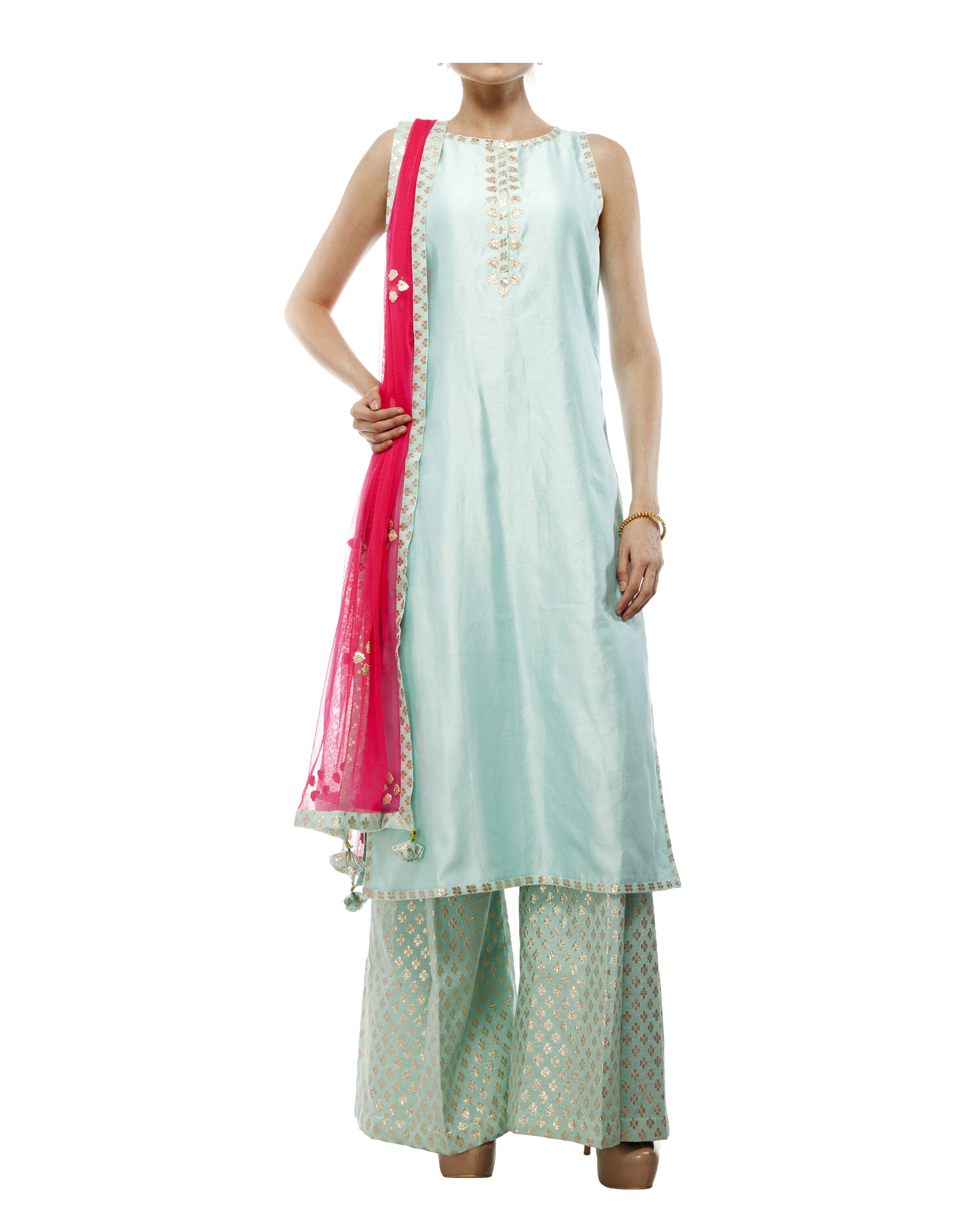 Pale Blue Chanderi Kurta set