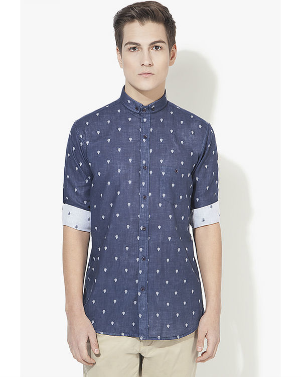 Blue bulb printed casual shirt