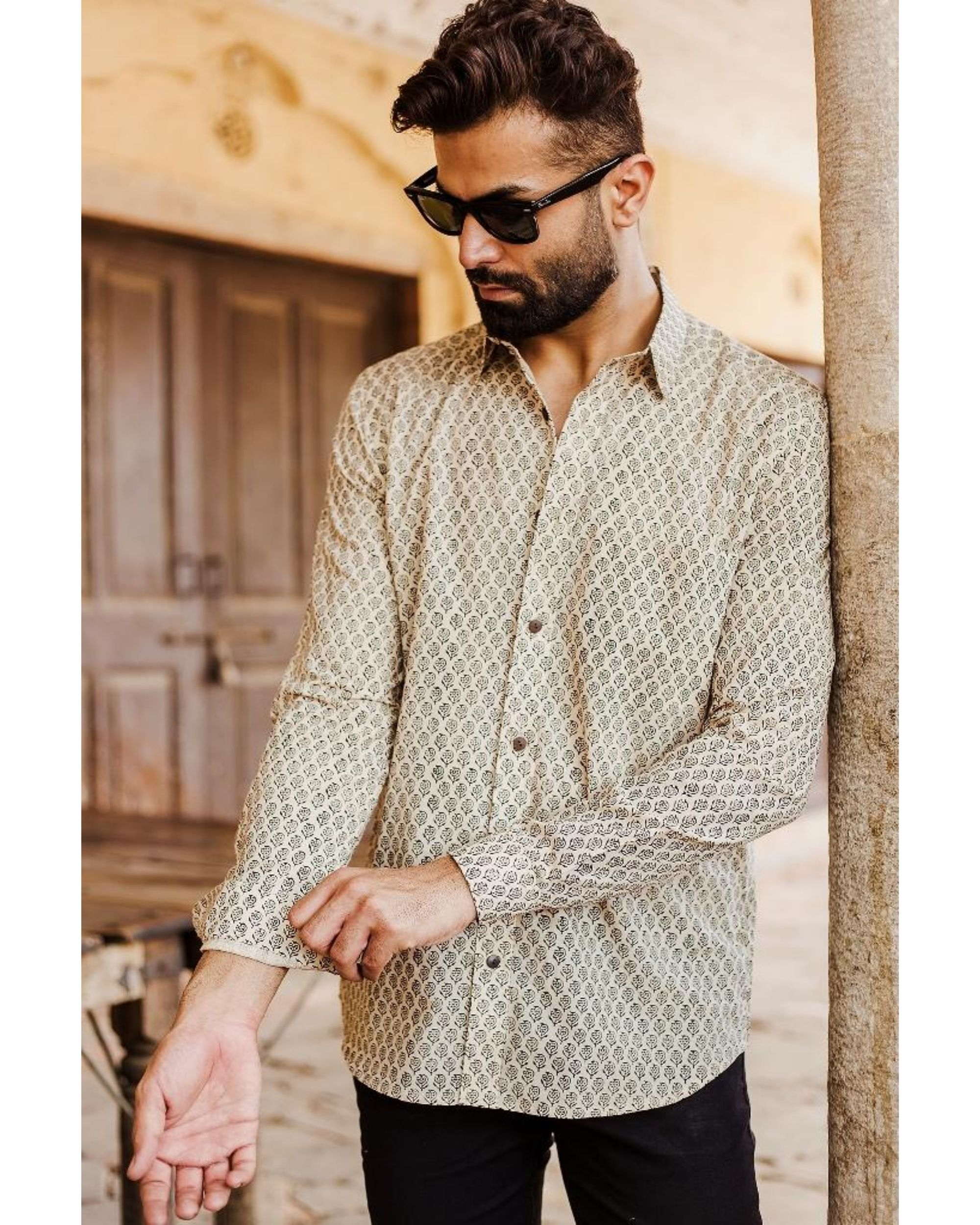 Light beige and black bagru shirt