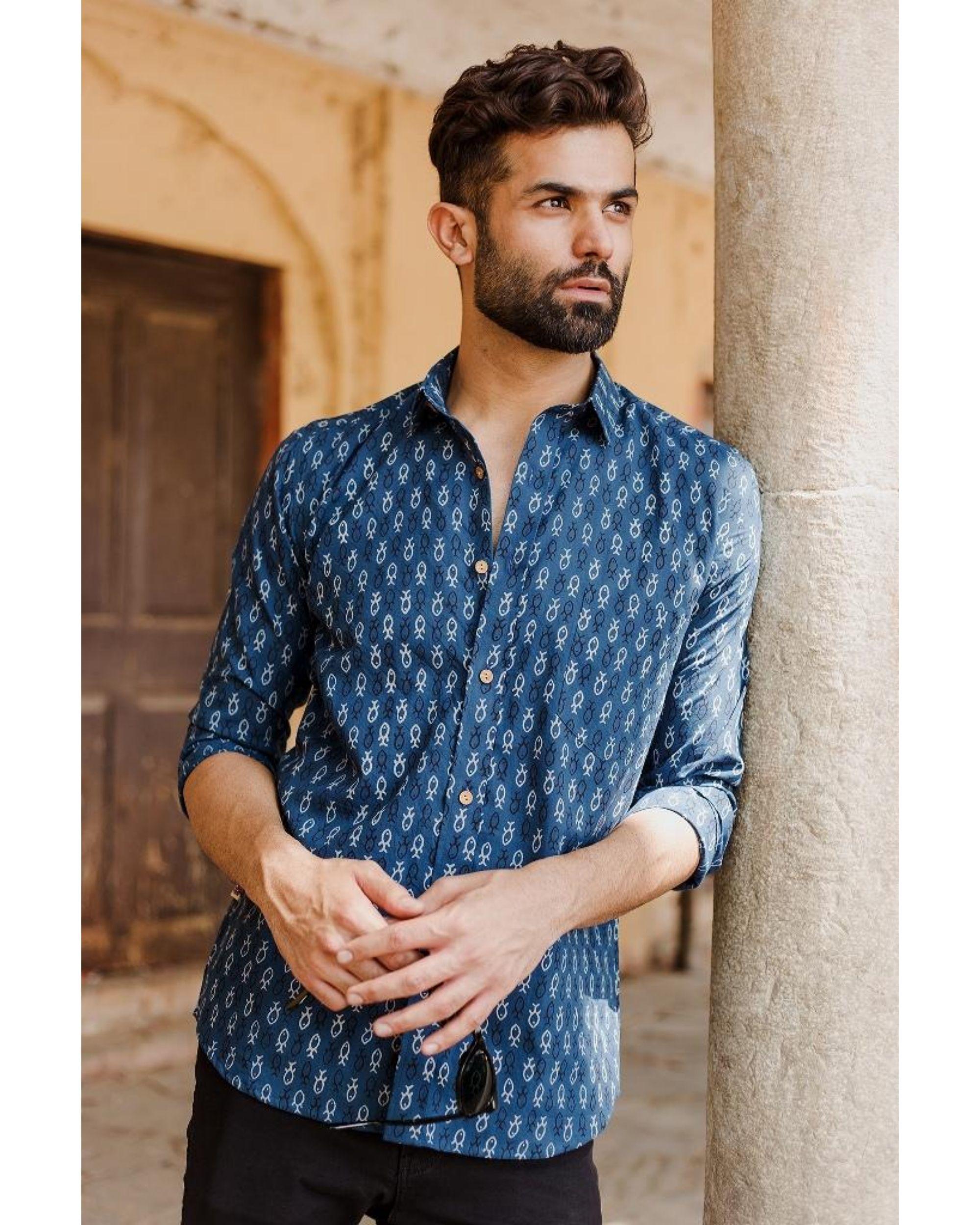 Blue ajrakh fish printed shirt