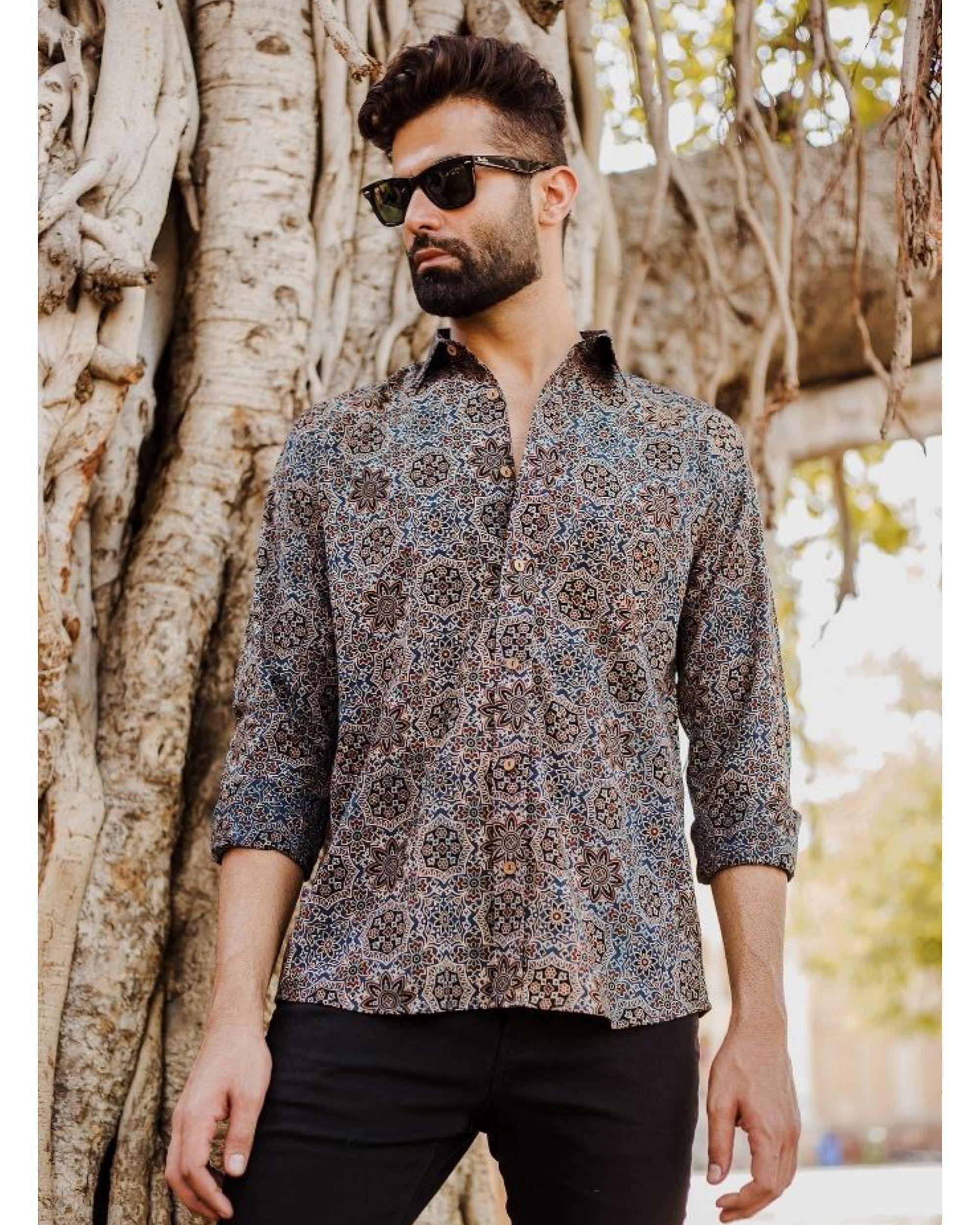 Blue and black ajrakh printed shirt