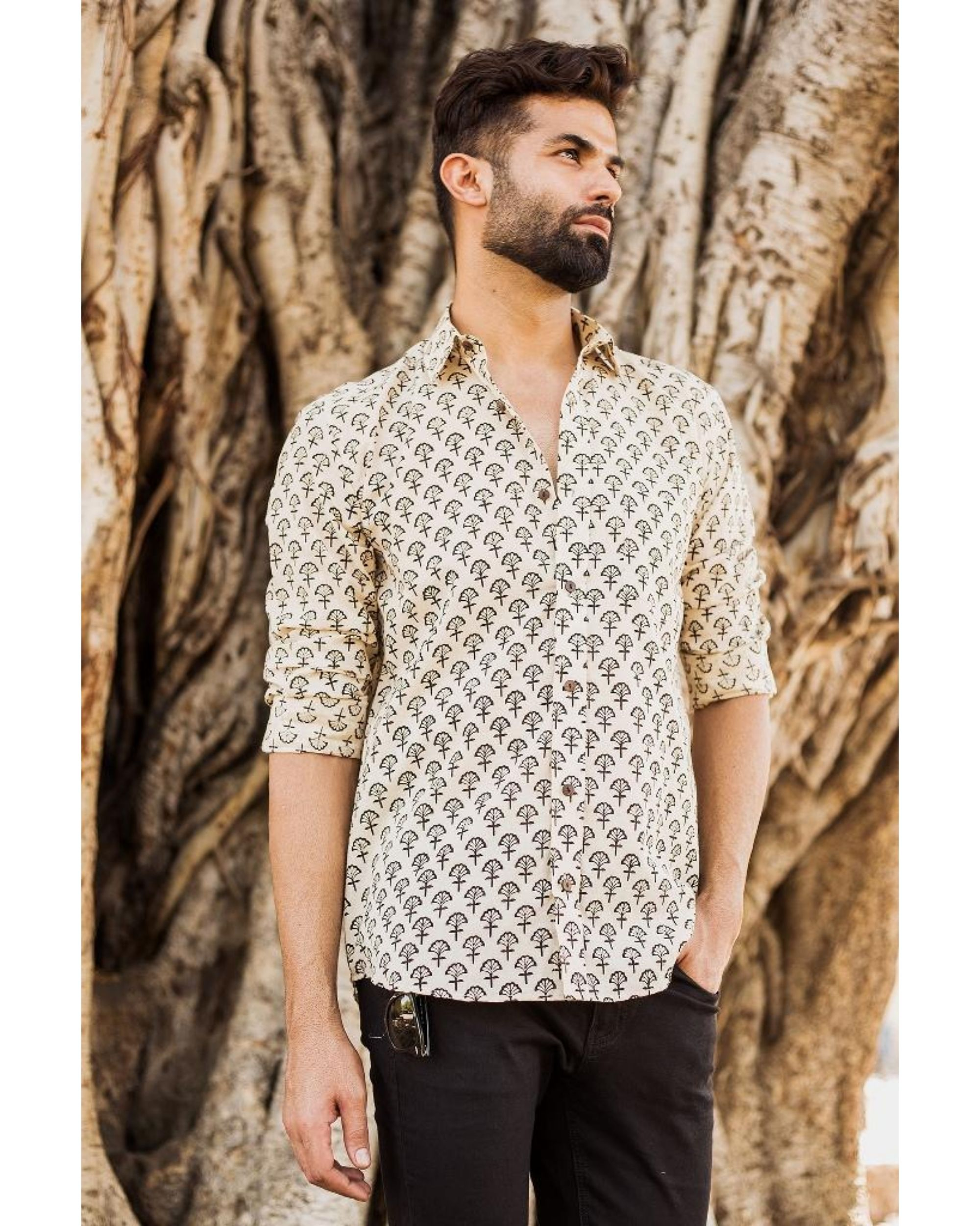 Off white and black bagh printed shirt