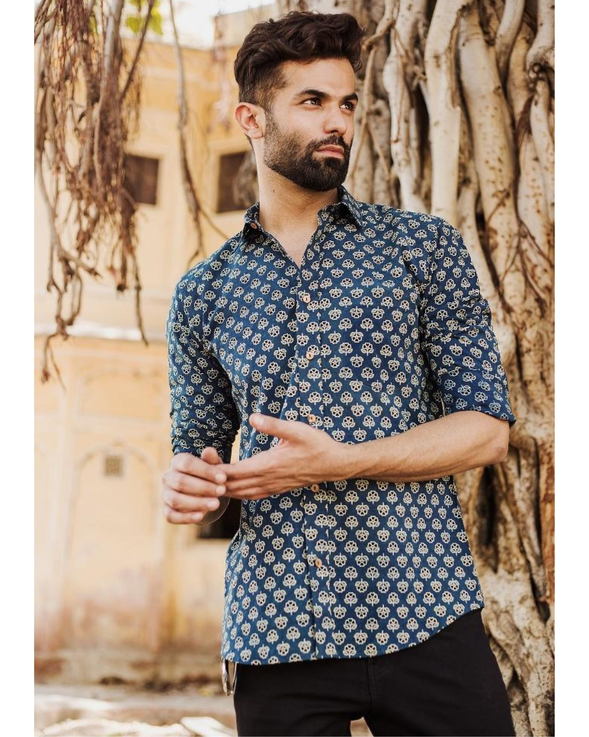 Blue and black ajrakh floral printed shirt