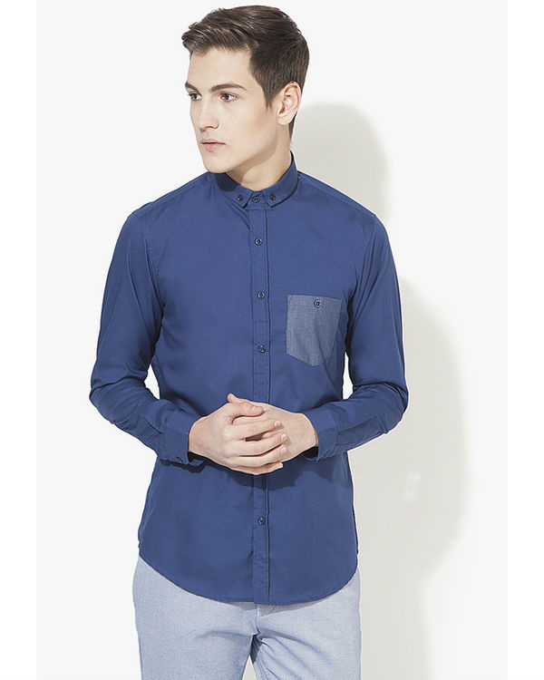 Blue pocket panel casual shirt