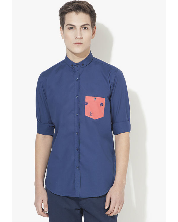Pink pocket panel casual shirt