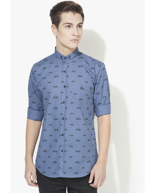 Blue cycle printed casual shirt