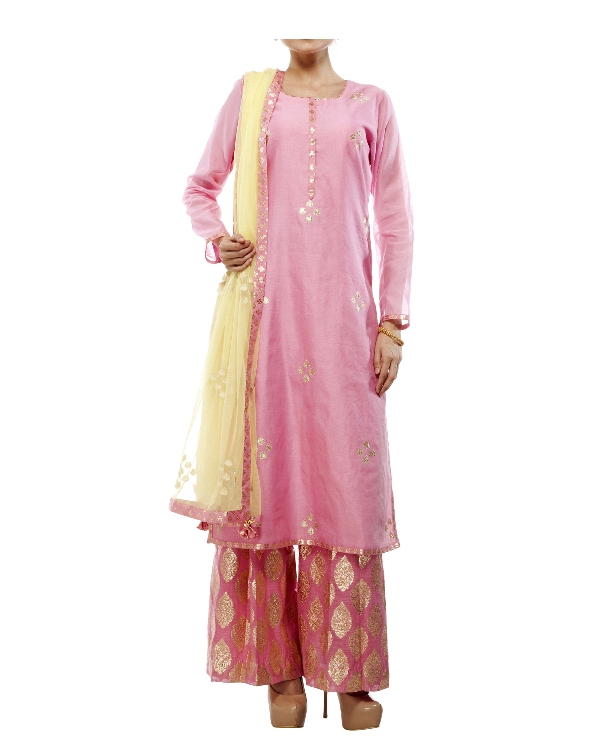 Pink Chanderi straight kurta set