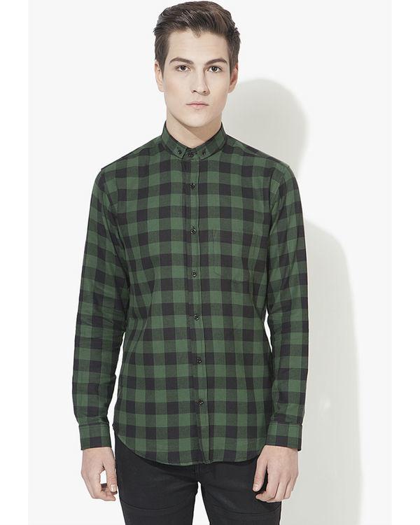 Black & green checks casual shirt