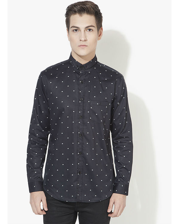 Black boat printed casual shirt