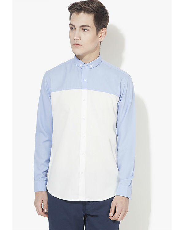Light blue & white panel casual shirt