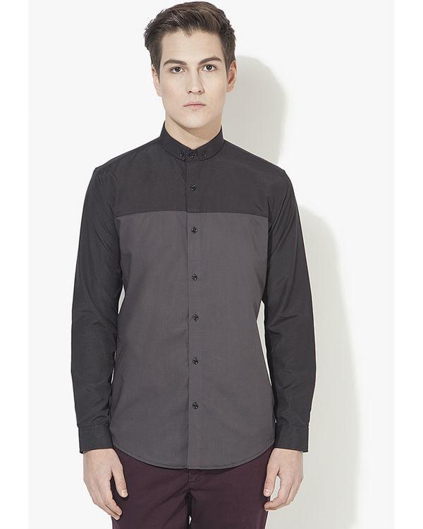 Grey & black panel casual shirt