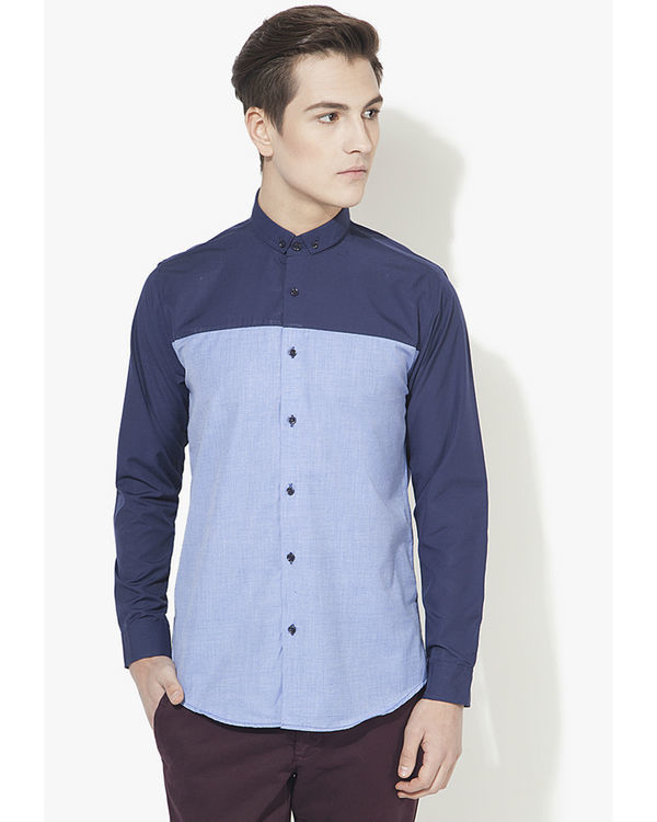 Dark blue panel casual shirt