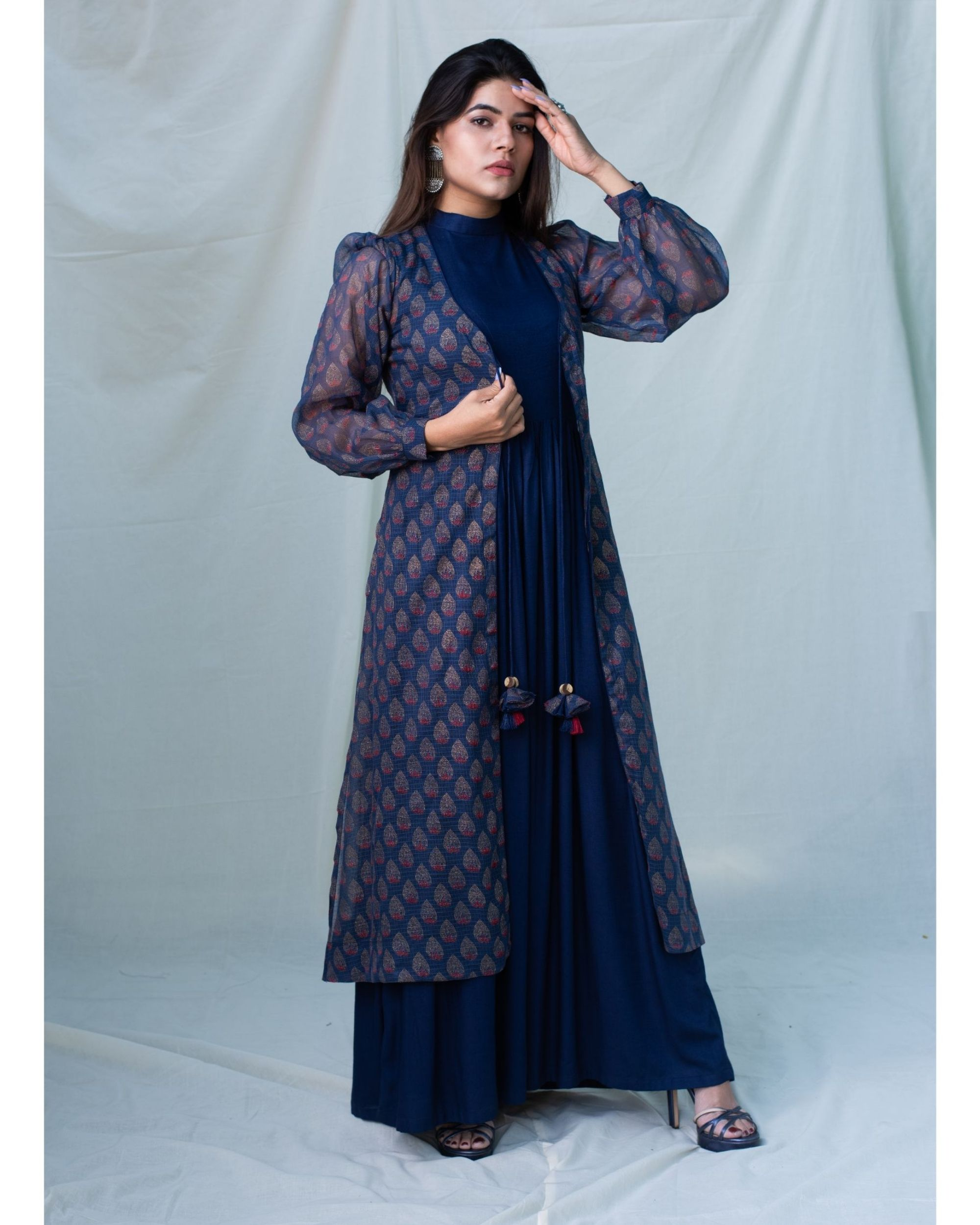 Navy blue printed kota doria jacket and gathered dress - Set Of Two