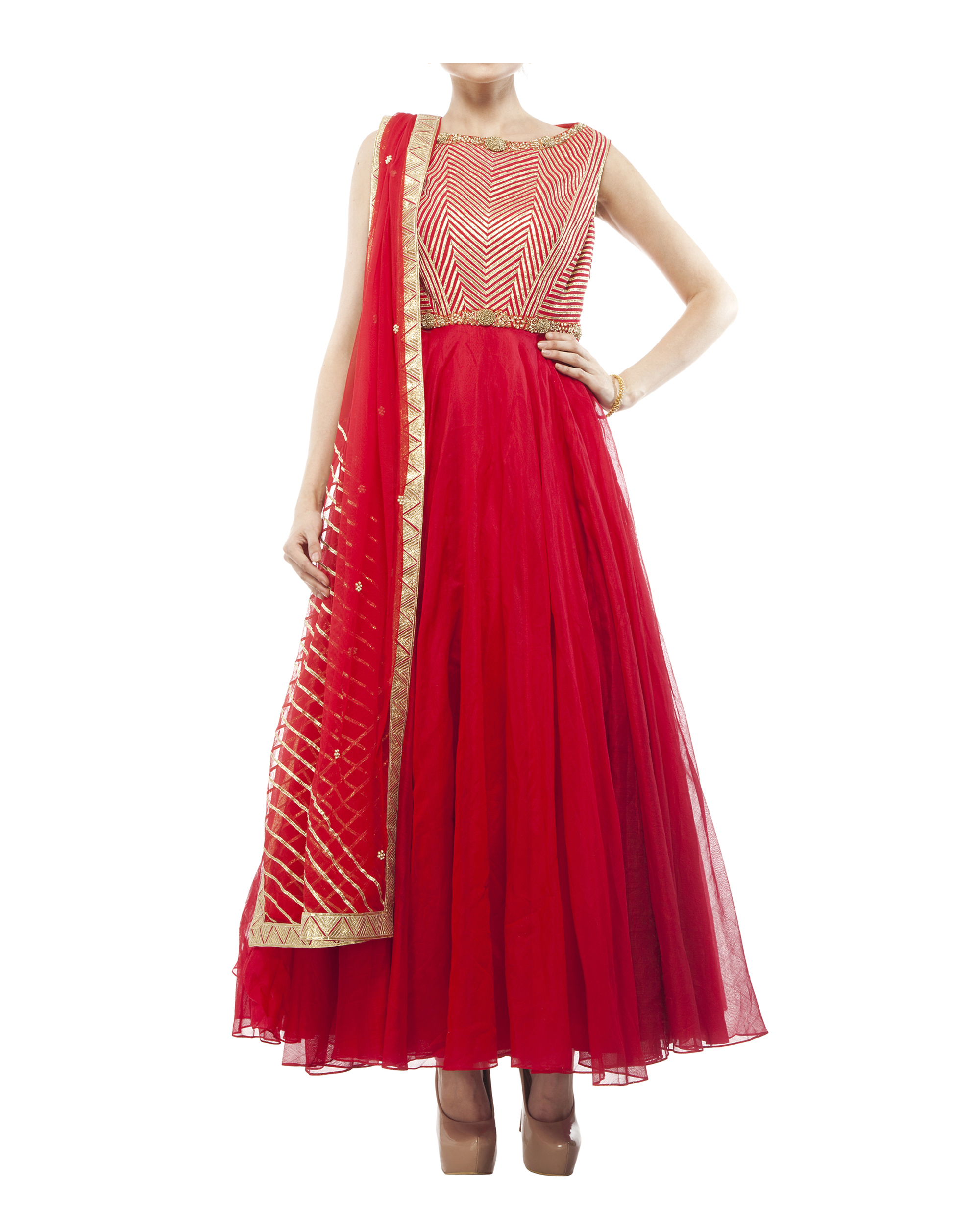 Red Chanderi anarkali Set