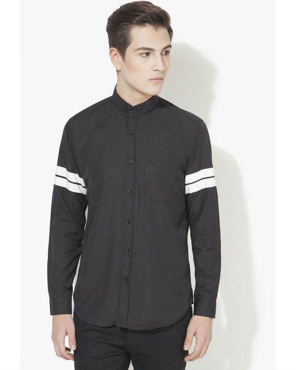 Black & white stripe panel casual shirt