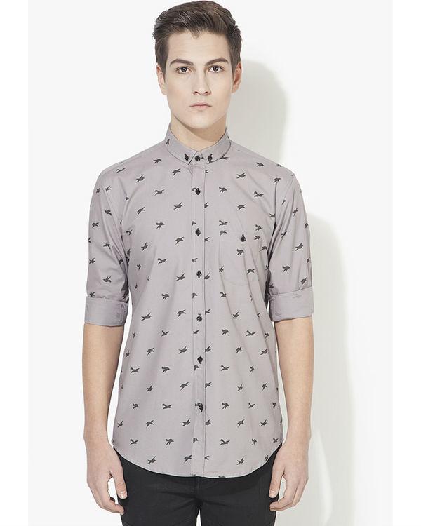 Grey birds printed casual shirt
