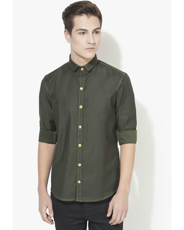 Military green solid casual shirt