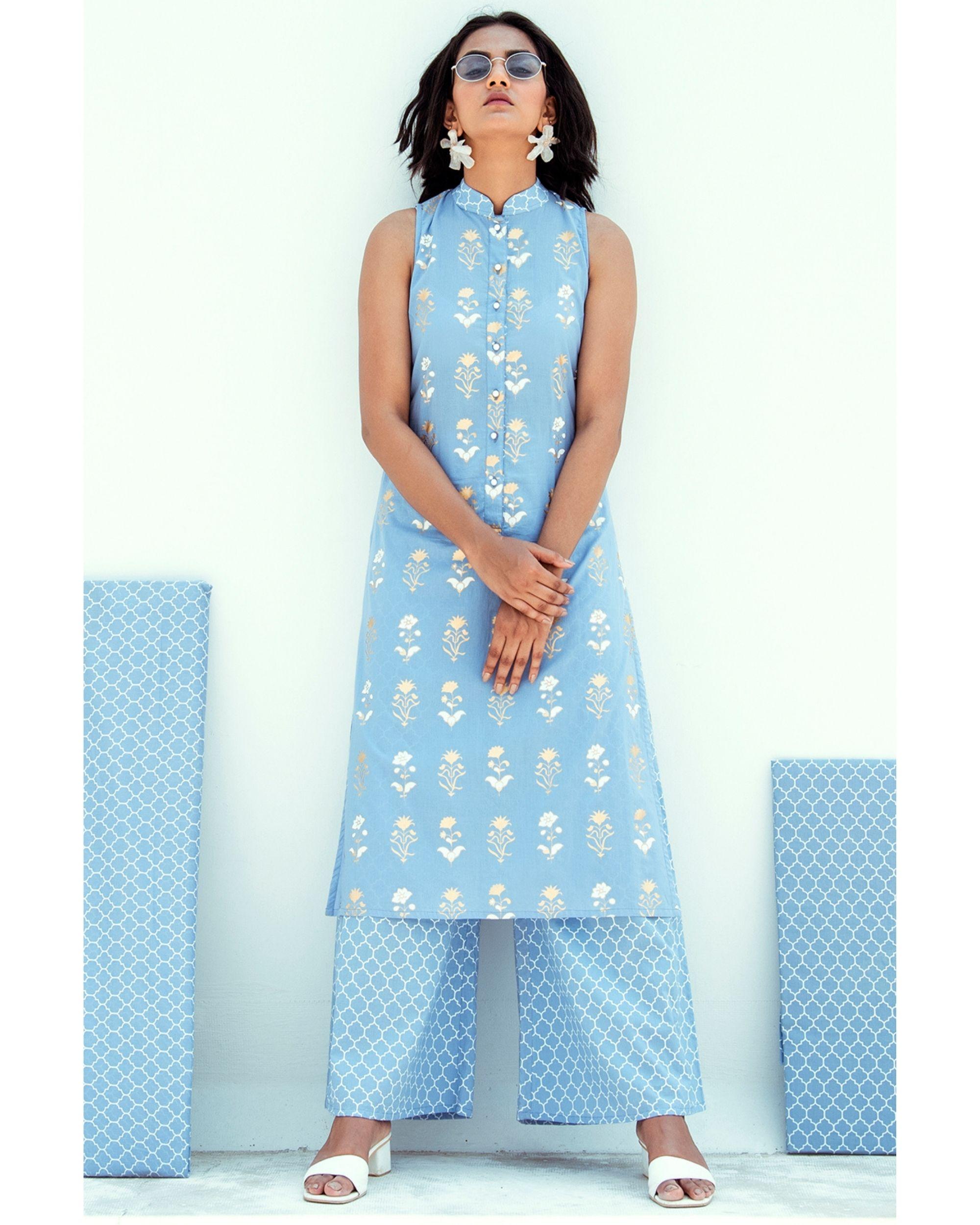 Blue floral printed mandarin kurta