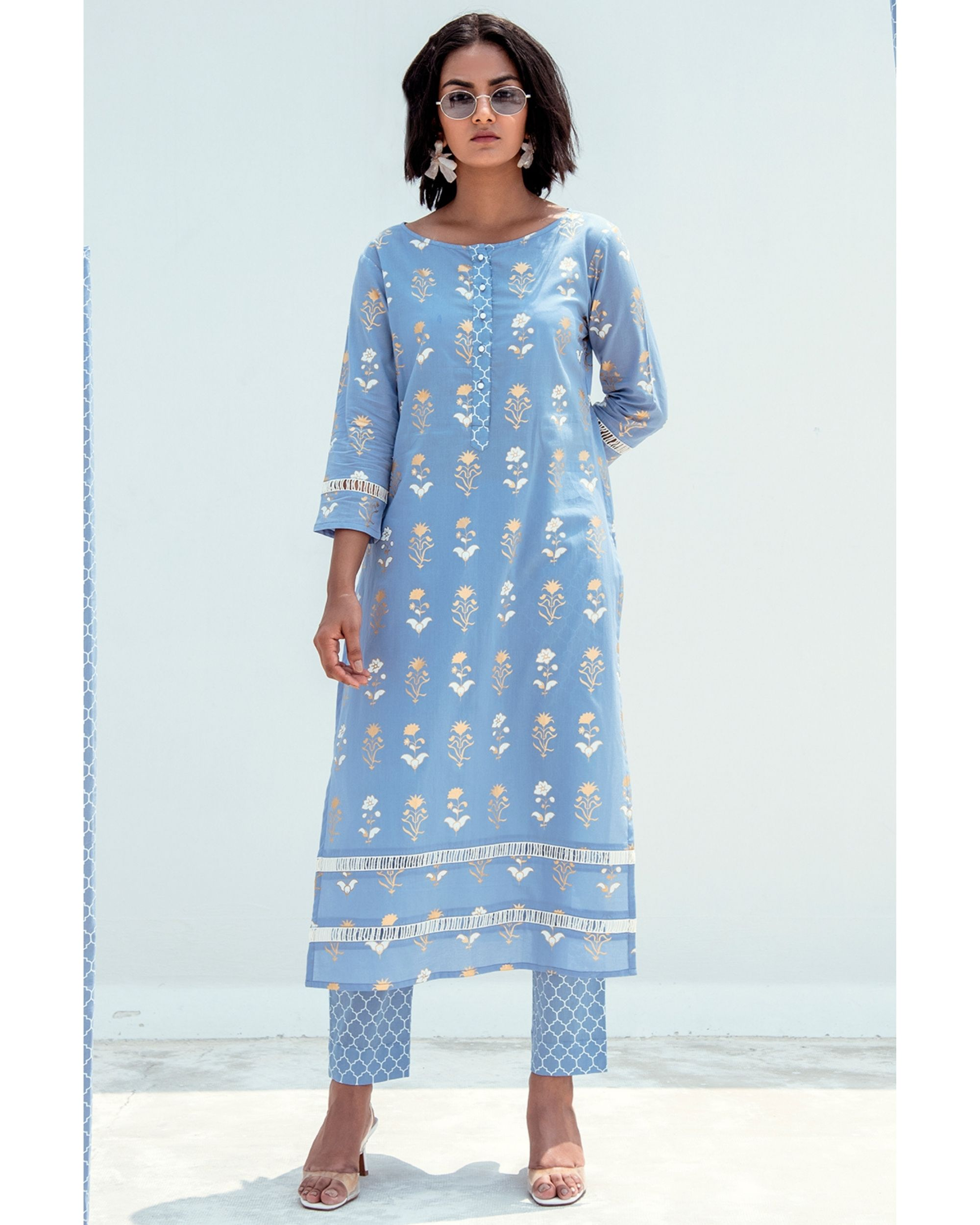 Blue and gold printed lace kurta