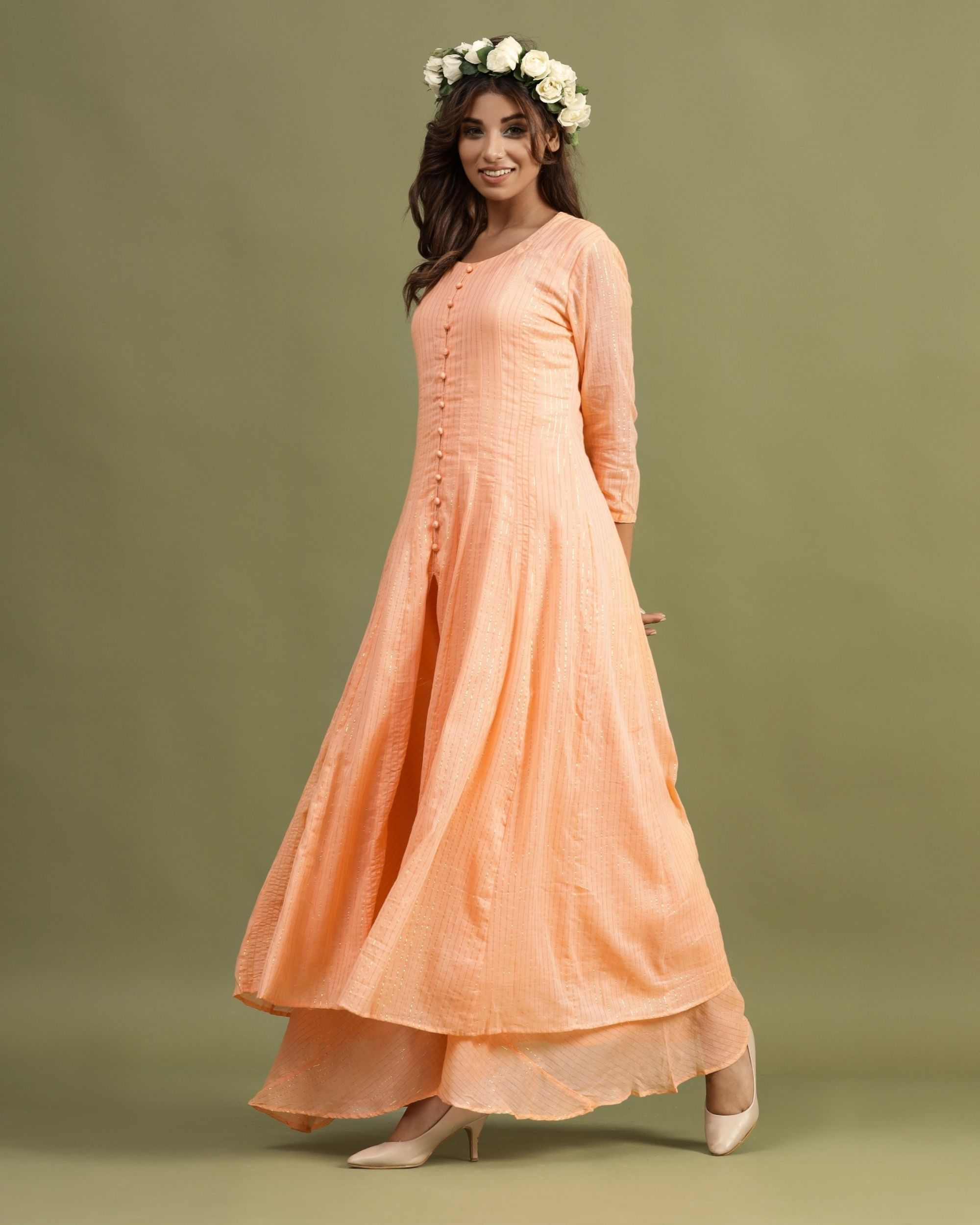 Peach striped slit kurta and palazzo - Set Of Two
