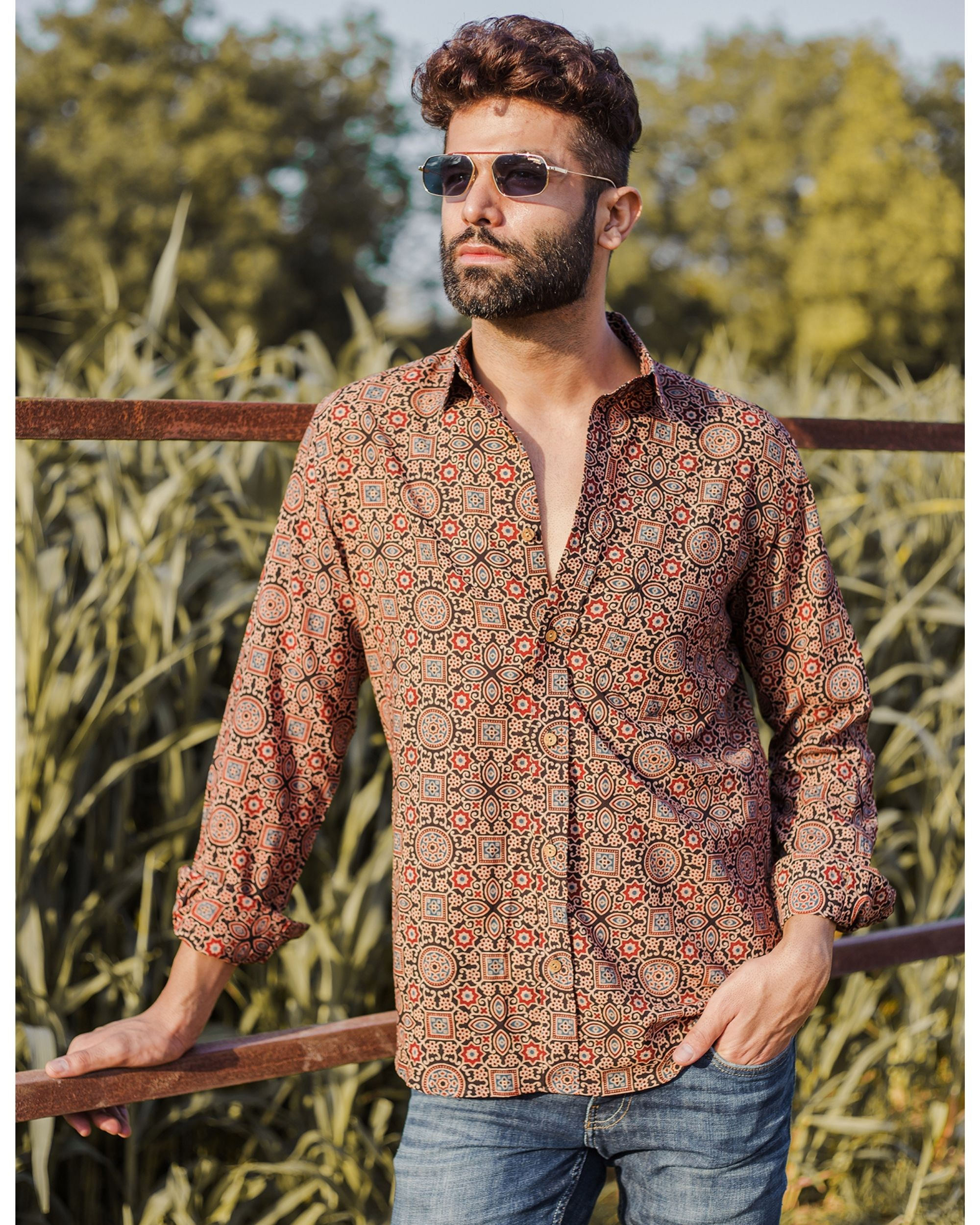 Brown and red ajrakh printed shirt