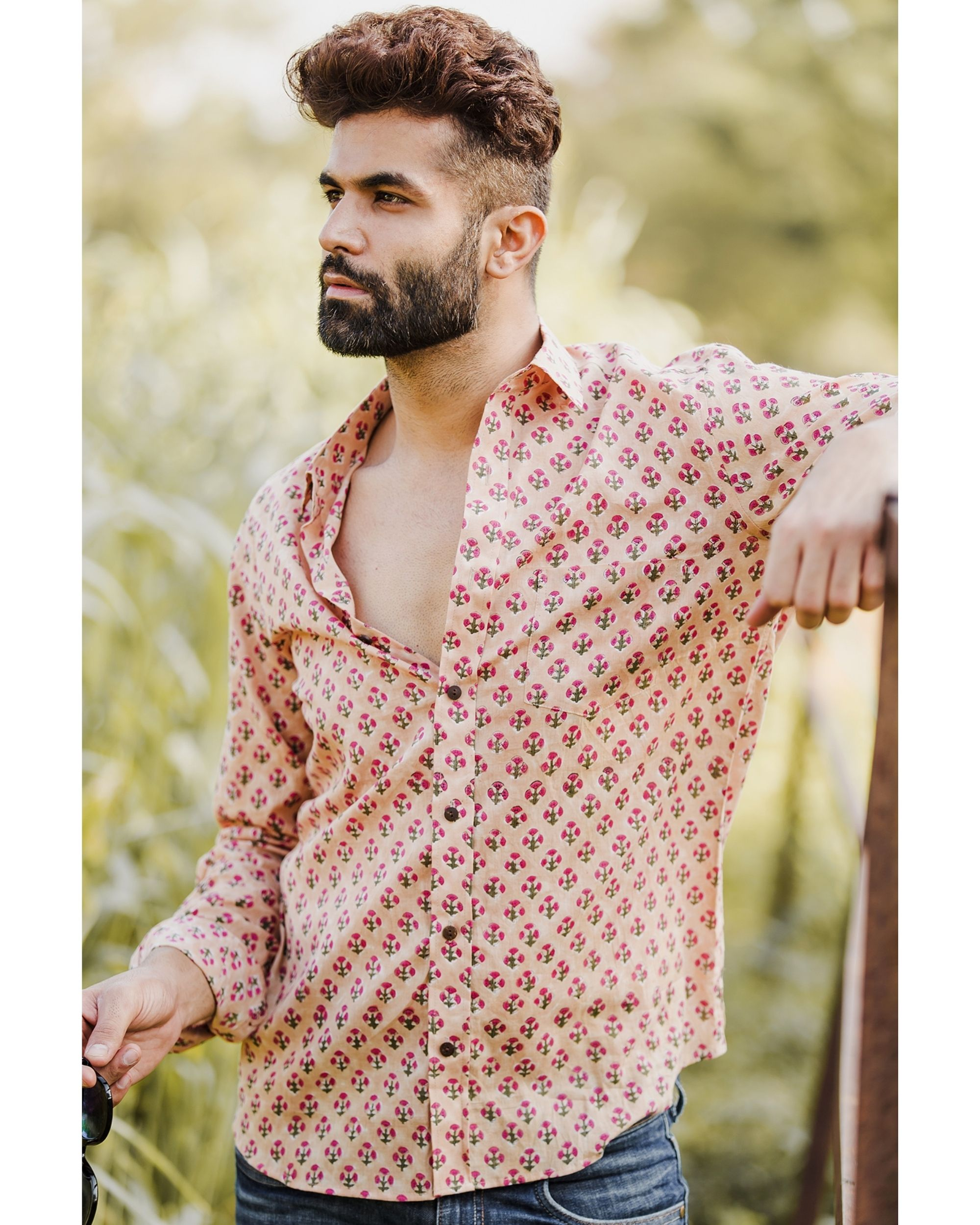 Beige and pink floral printed shirt