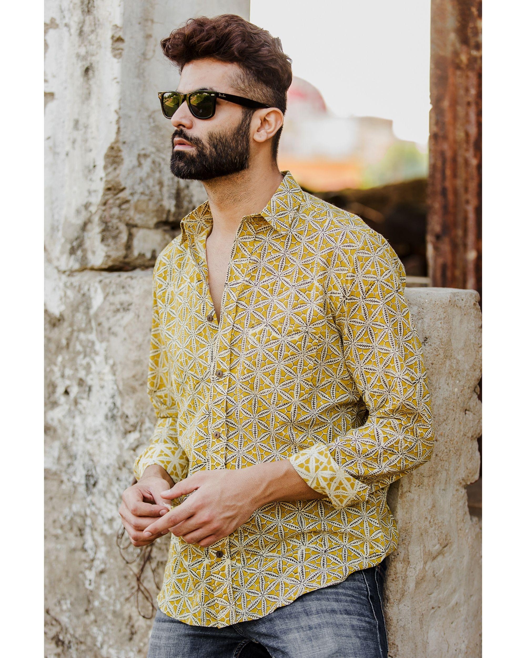 Mustard yellow honeycomb printed shirt