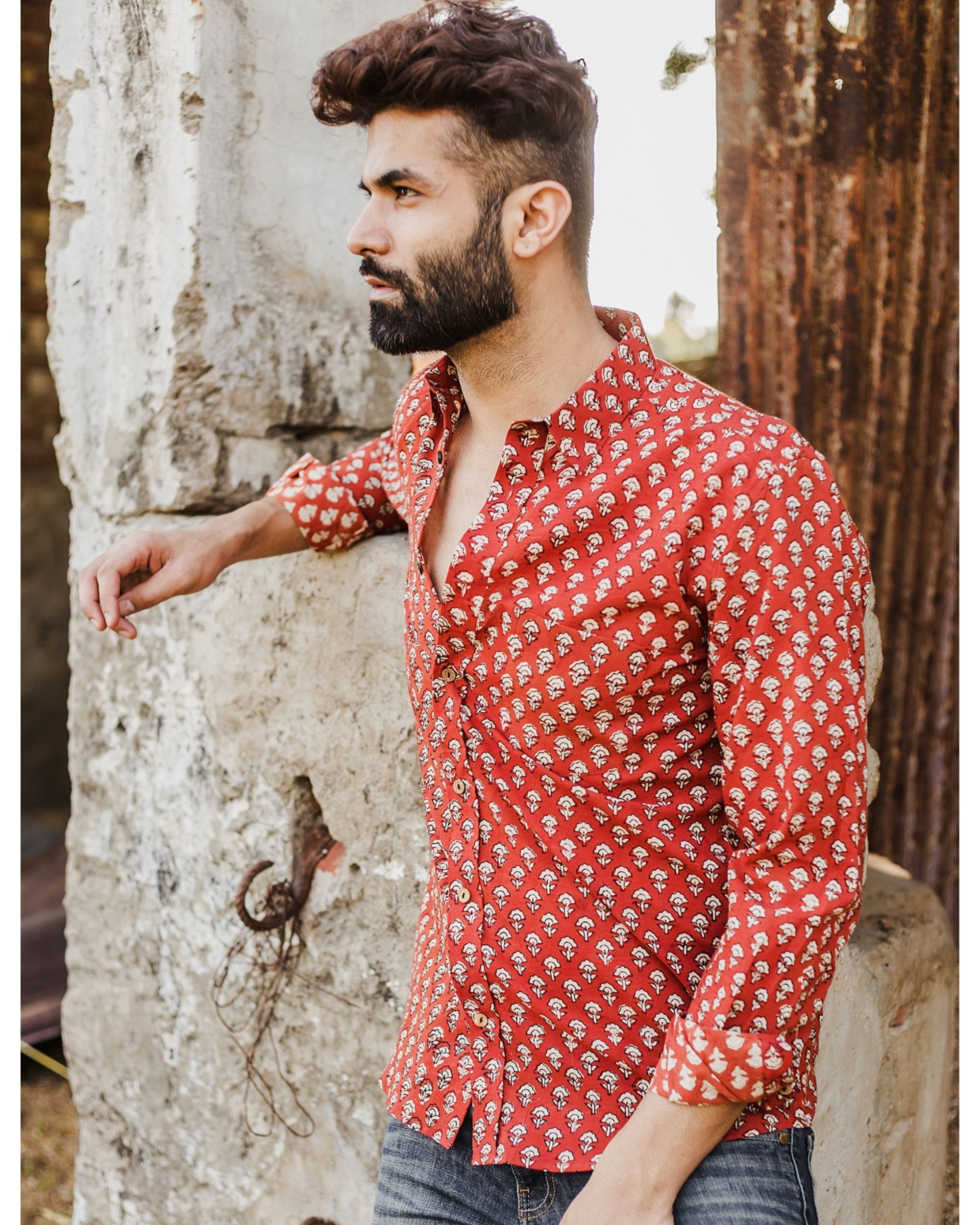 Red and white bagru printed shirt