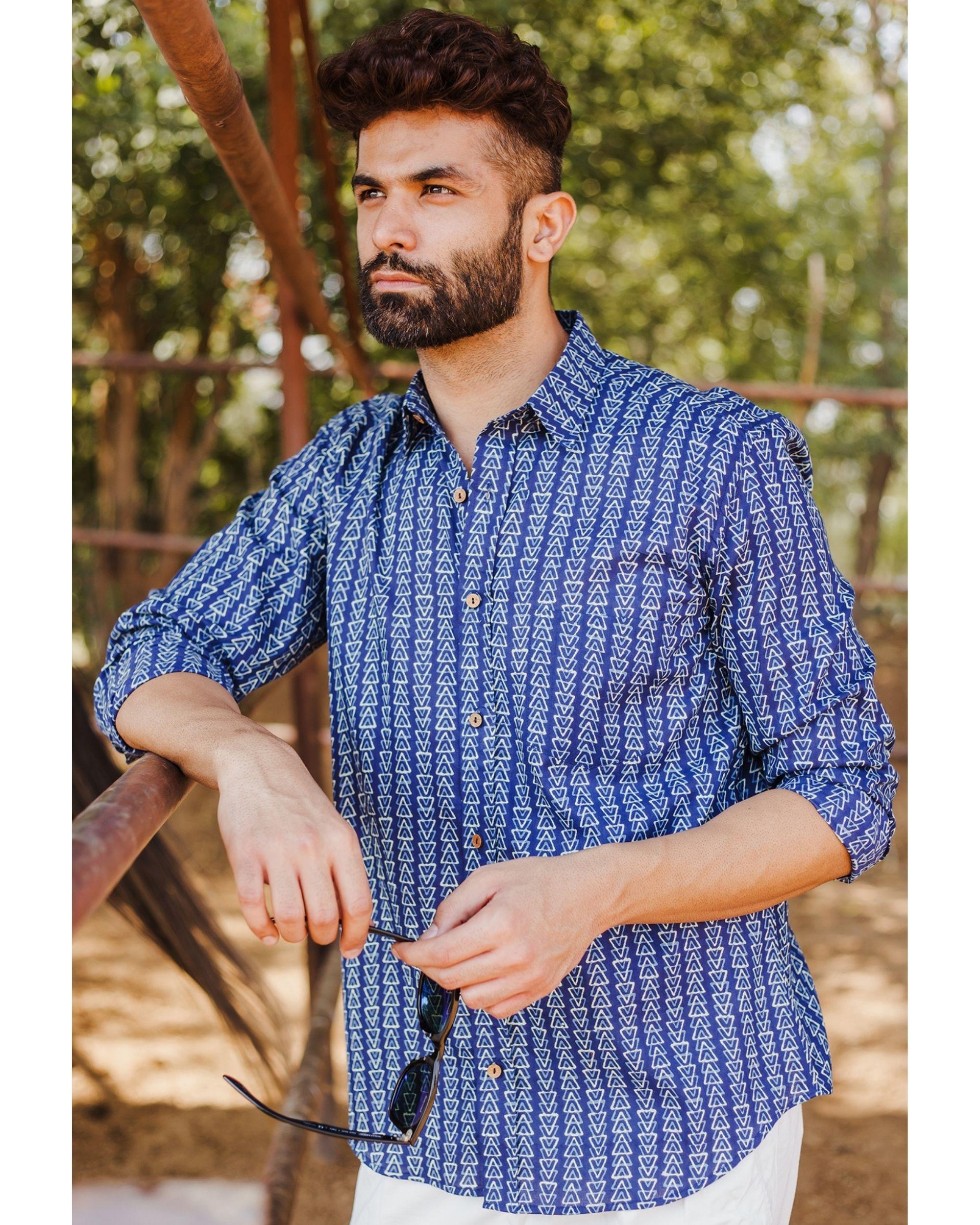 Indigo trigon hand block printed shirt