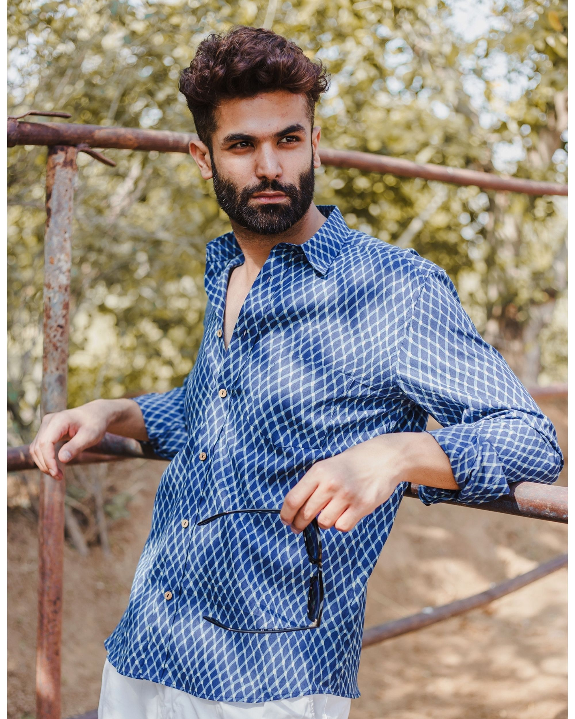 Indigo checkered hand block printed shirt