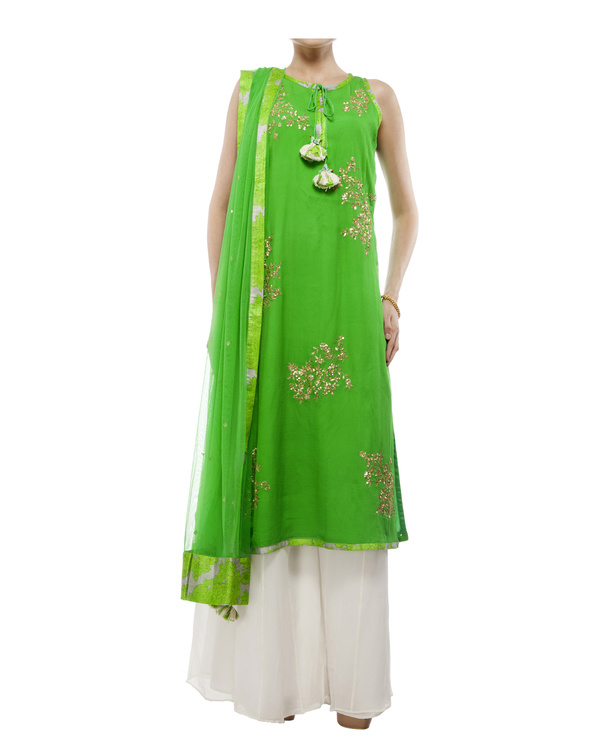 Leaf Green Embroidered kurta set