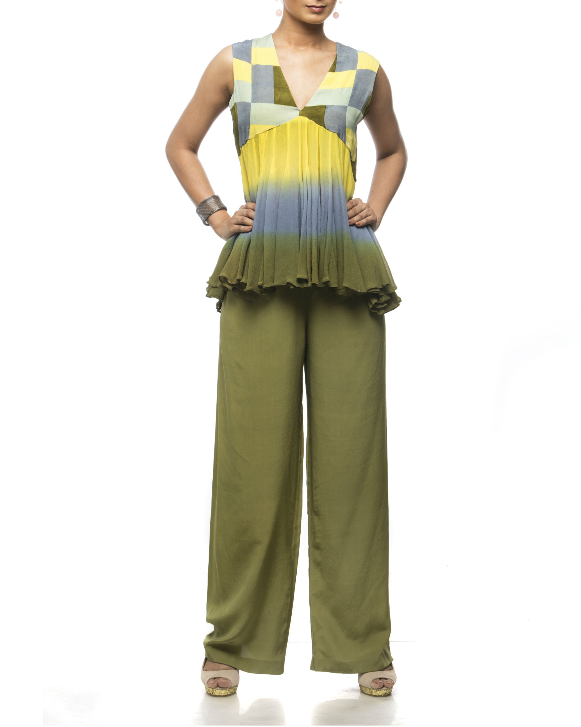Olive Palazzo Pants By Debarun The Secret Label