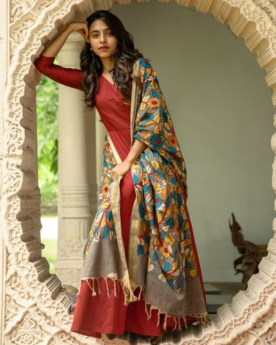 Scarlet red silk dress with hand painted kalamkari dupatta - set of two by  Athira Designs | The Secret Label