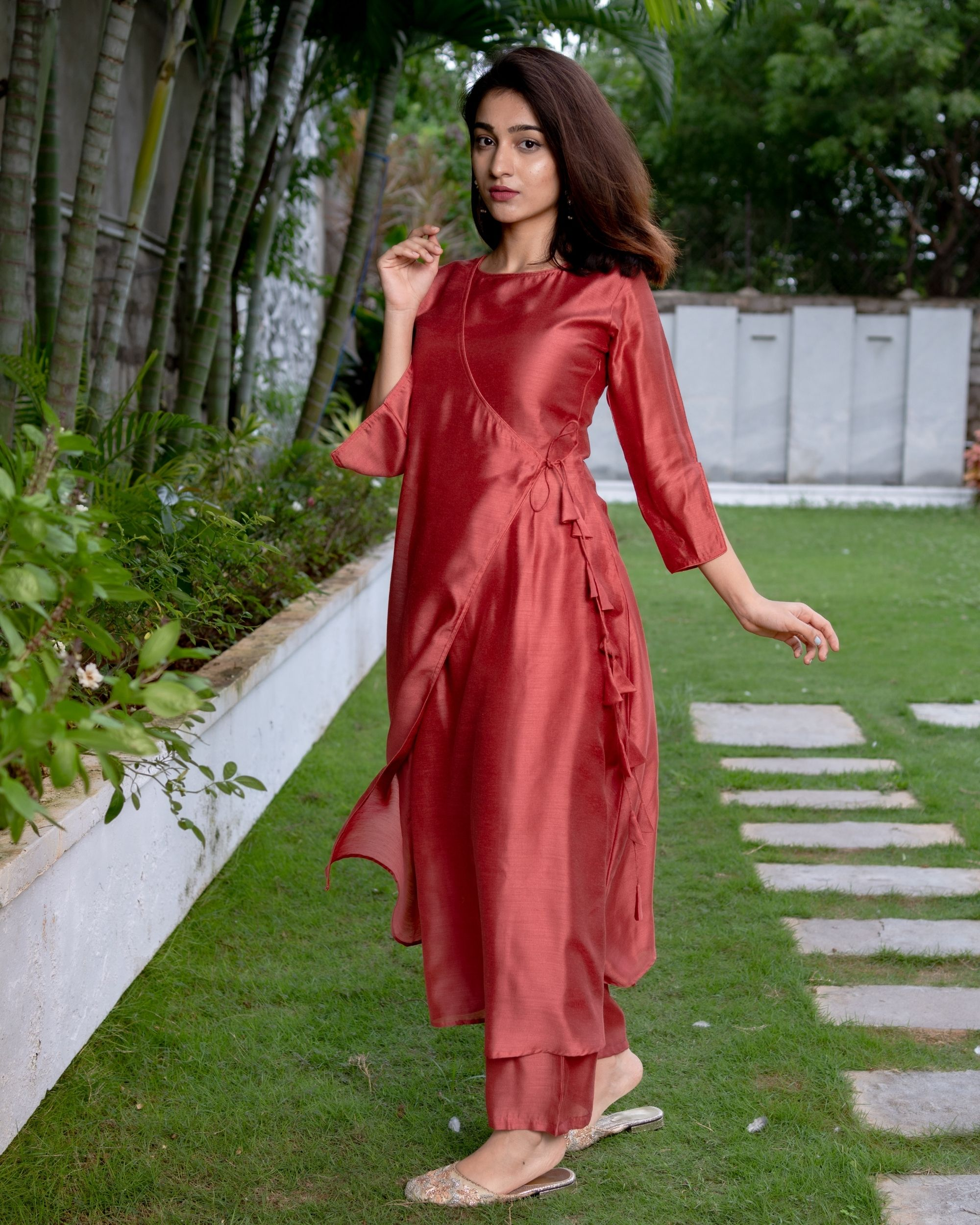 Raspberry red tie-up kurta and pants - Set Of Two