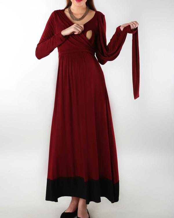 Wine maternity dress