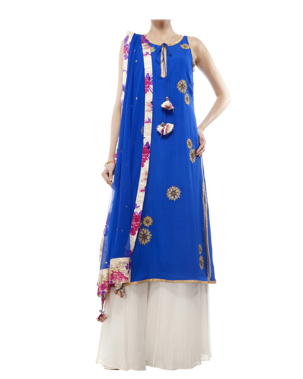 Royal Blue Embroidered kurta set