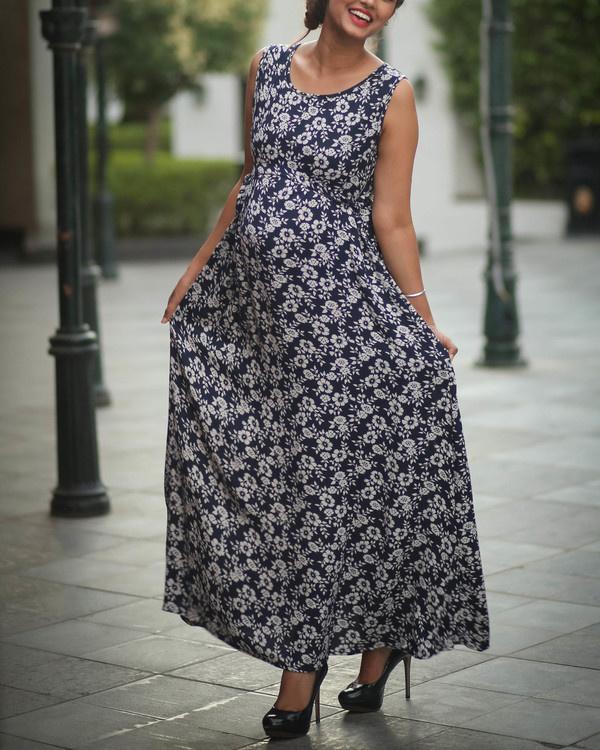 Blue empire maternity dress