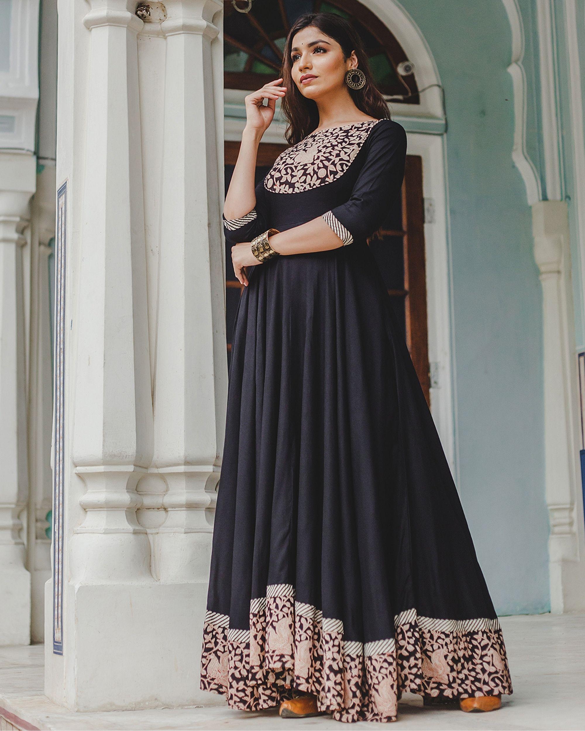 Black hand block printed peacock motif maxi dress