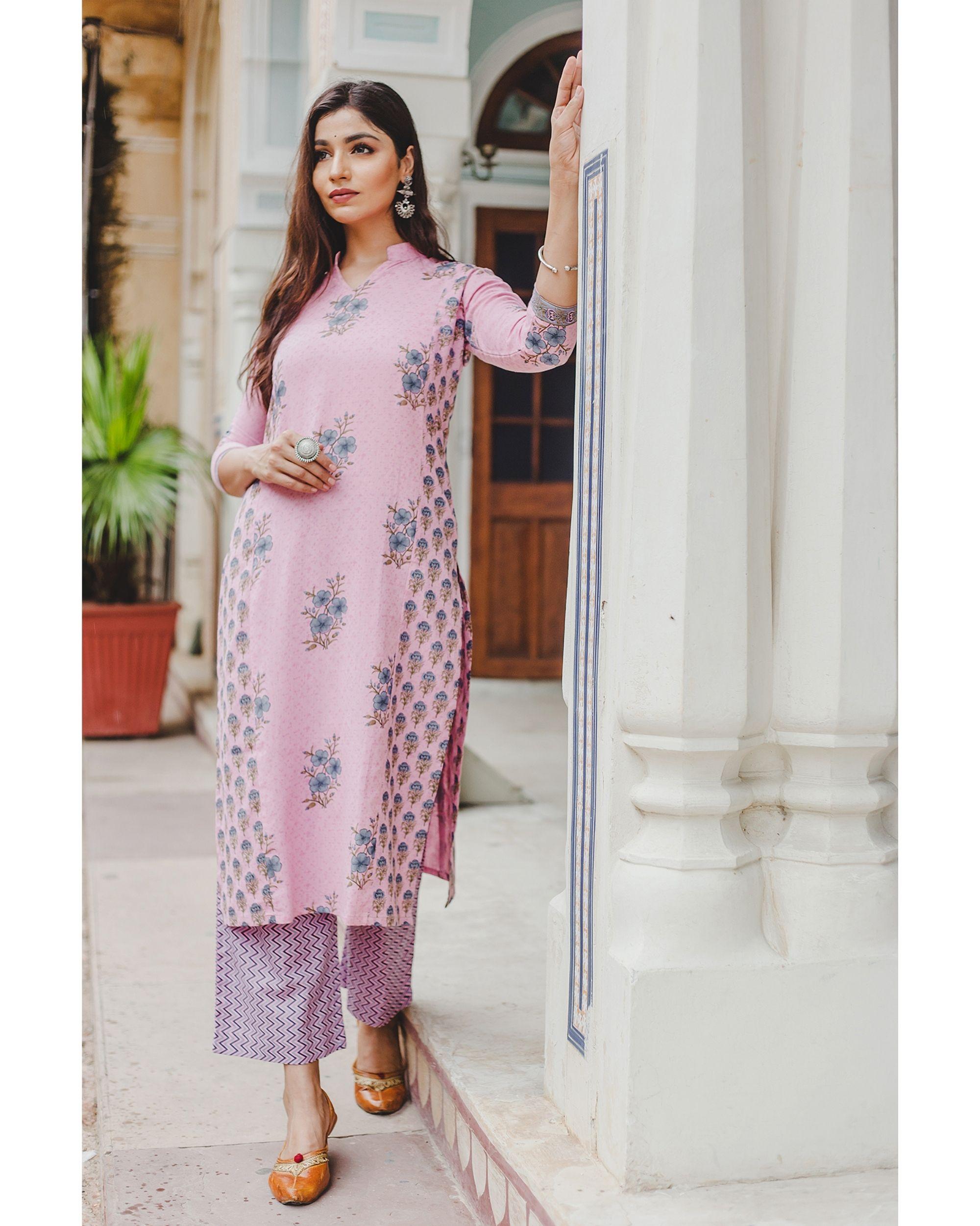 Blush pink mughal butta hand block printed kurta and palazzo set - set of two