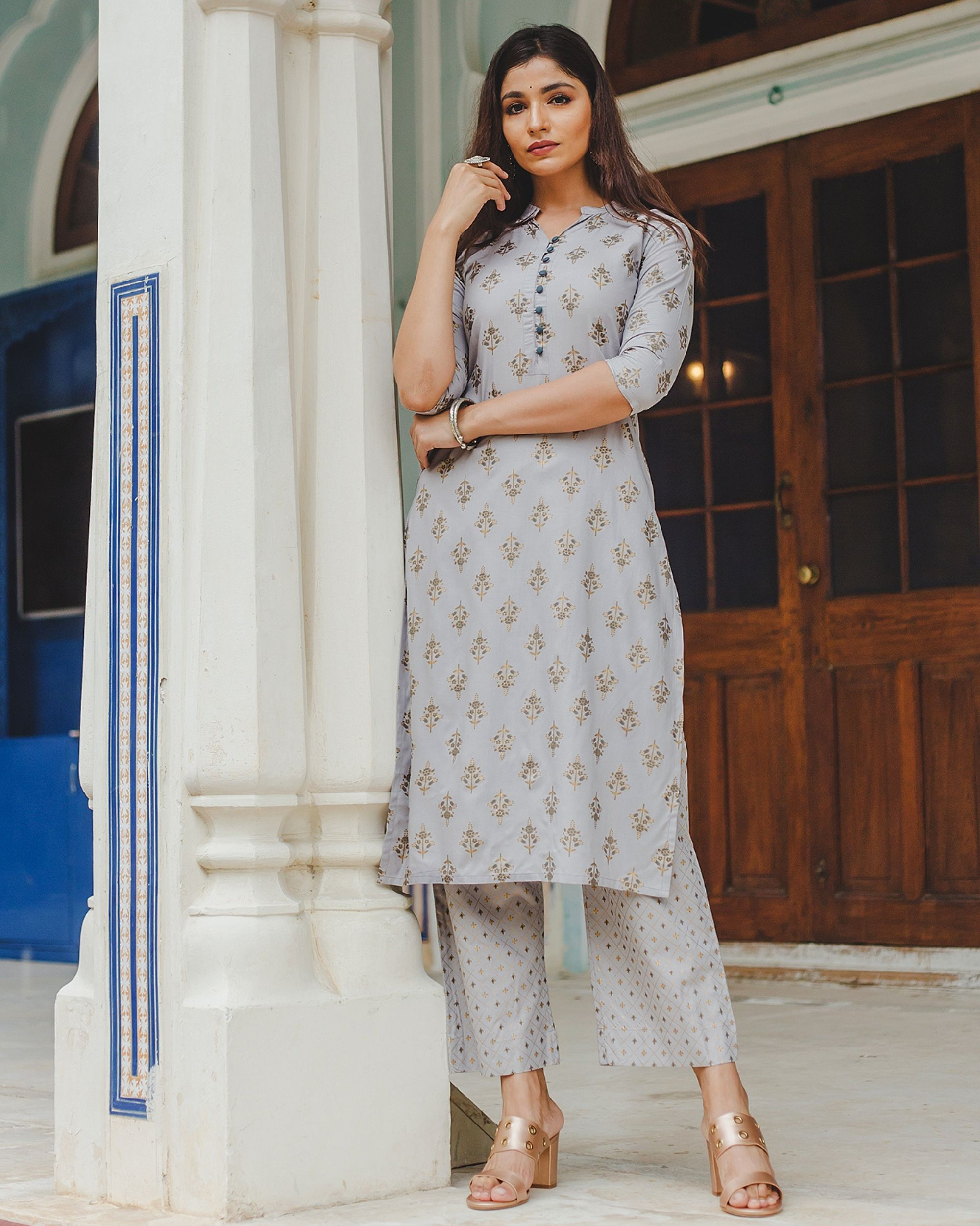 Grey floral buti printed kurta and palazzo set - set of two