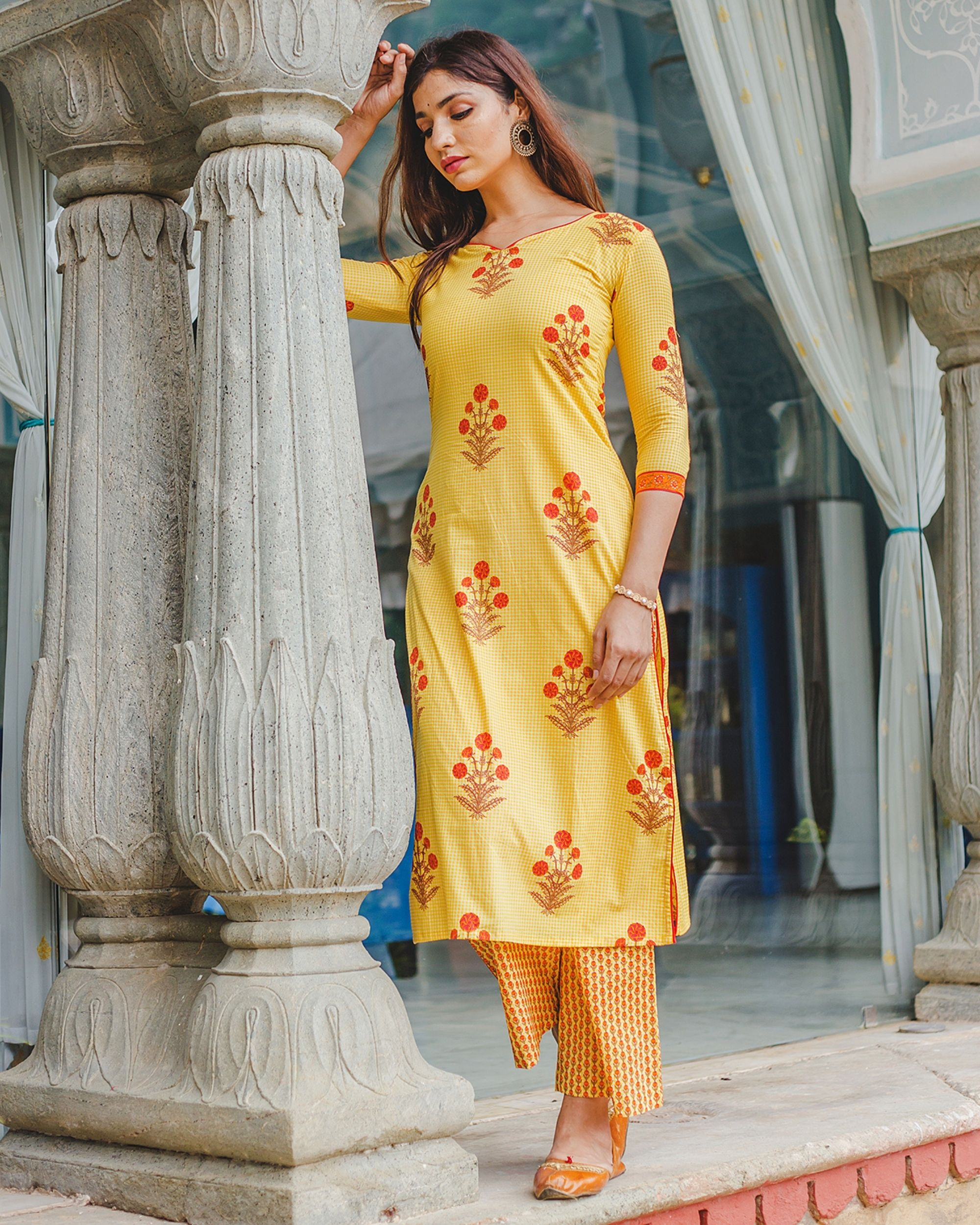 Bumble bee yellow mughal hand block printed kurta and palazzo - set of two