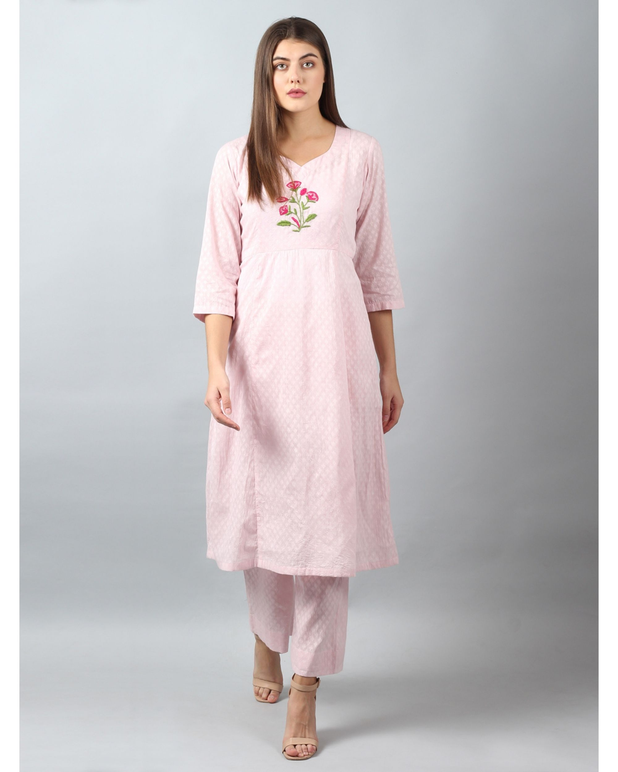 Pink floral embroidered yoke kurta and pants - Set Of Two