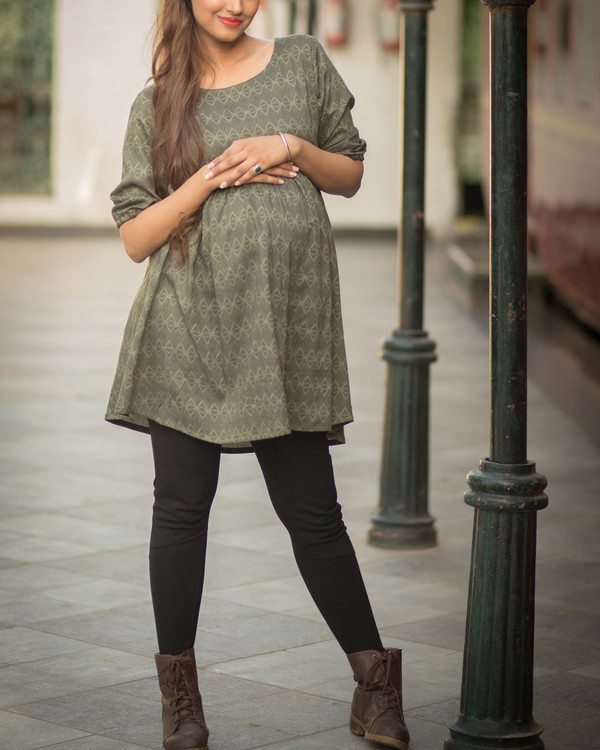 Olive maternity top